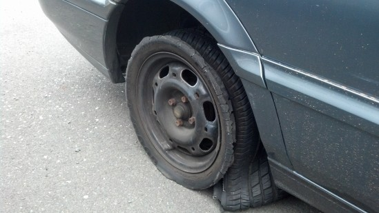 the damned tire blew up on me