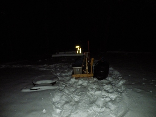 The sled is loaded up, ready to be towed through an unknown amount of distance to a dimly-lit campsite... by myself!